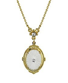 "Gold-Tone Frosted Lalique-Inspired Oval Pendant Necklace 16"" Adjustable"