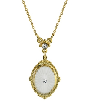 """Gold-Tone Frosted Lalique-Inspired Oval Pendant Necklace 16"""" Adjustable"""