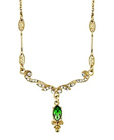 "Downton Abbey Gold-Tone Crystal Belle Epoch Emerald Color Navette Drop Necklace 16"" Adjustable"
