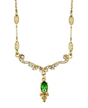 """Gold-Tone Crystal Belle Epoch Emerald Color Navette Drop Necklace 16"""" Adjustable"""