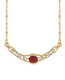 "Downton Abbey Gold-Tone Edwardian with Red Center Stone Collar Necklace 16"" Adjustable"