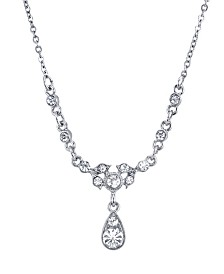 "Downton Abbey Silver-Tone Belle Epoch with Crystal Accent Stones Drop Necklace 16"" Adjustable"