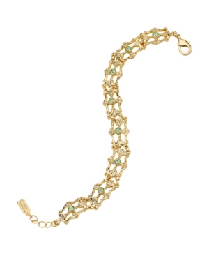1930s Jewelry | Art Deco Style Jewelry Downton Abbey Gold-Tone Light Green Crystal Link Bracelet $35.00 AT vintagedancer.com