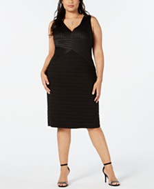 Betsy & Adam Plus Size V-Neck Bandage Dress