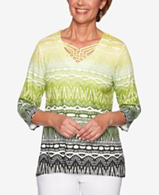 Alfred Dunner Cayman Islands Printed Lattice-Neck Top