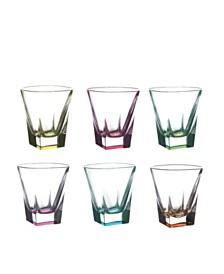 Lorren Home Trends Fusion Crystal Multi Color Shot Glass Set