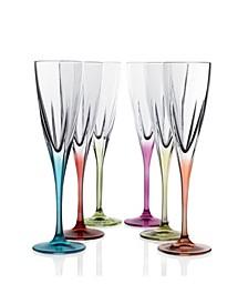 Fusion Crystal Multi Color Champagne Set