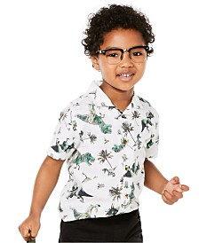 Epic Threads Little Boys Tossed Dino-Print Camp Shirt, Created for Macy's
