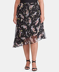 Plus-Size Floral-Print Asymmetrical Skirt