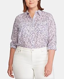 Lauren Ralph Lauren Plus-Size Floral-Print Cotton Voile Shirt