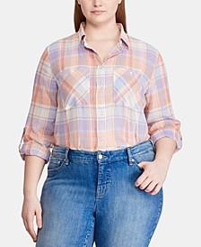 Plus-Size Plaid-Print Roll-Tab Button-Down Cotton Shirt