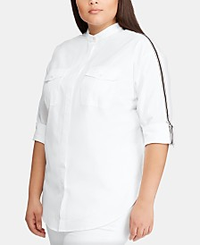 Lauren Ralph Lauren Plus-Size Stripe-Trim Cotton Shirt