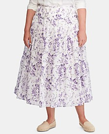 Plus-Size Tiered Voile Peasant Skirt