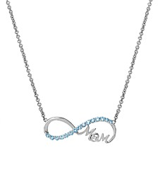 Blue Topaz(5/8 c.t. tw.) & Diamond Accent Mom Infinity Pendant Necklace in Sterling Silver(Also Available in Amethyst)