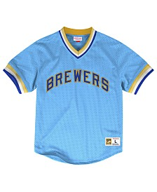Mitchell & Ness Men's Milwaukee Brewers Mesh V-Neck Jersey