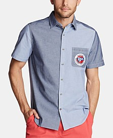 Men's Blue Sail Classic-Fit Colorblocked Logo-Appliqué Chambray Shirt, Created for Macy's