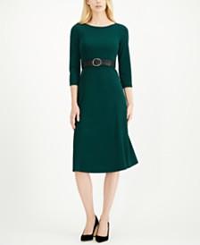 Calvin Klein 3/4-Sleeve Belted Midi Dress