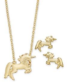 "Kitsch Gold-Tone Unicorn Pendant Necklace & Stud Earrings Set, 17"" + 1"" extender"