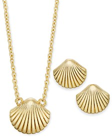 "Kitsch Gold-Tone Seashell Pendant Necklace & Stud Earrings Set, 17"" + 1"" extender"