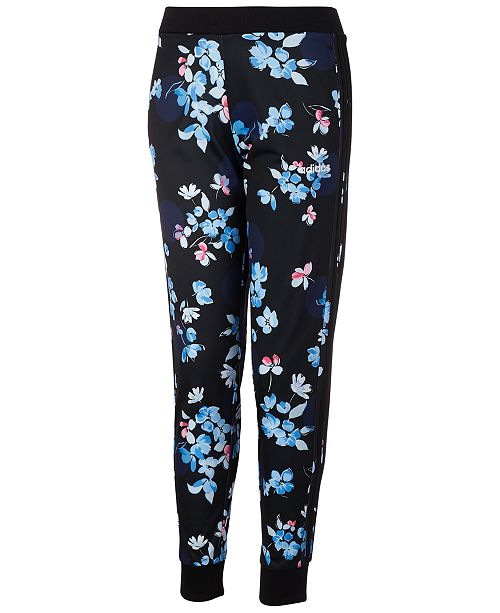 adidas Toddler Girls Floral-Print Tricot Jogger Pans