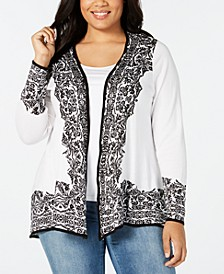 Plus Size Border-Print Swing Cardigan