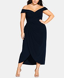 Trendy Plus Size Off-The-Shoulder Faux-Wrap Dress