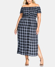City Chic Trendy Plus Size Rebel Plaid Off The Shoulder Dress