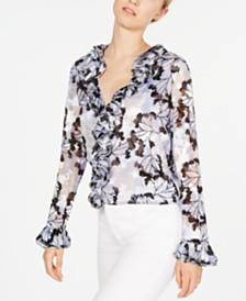 Elie Tahari Ruffled Floral-Print Blouse