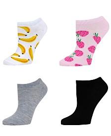 SOCK TALK Ladies' Low Cut Socks 4 PACK STRAWBERRIES & BANANAS