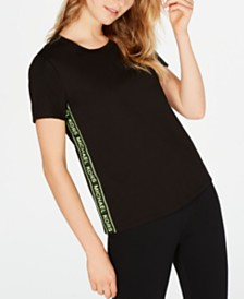 Michael Michael Kors MKGO Cotton Logo-Stripe T-Shirt, in Regular and Petite