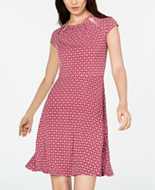 Michael Michael Kors Printed Cutout-Neck Dress, in Regular & Petite Sizes