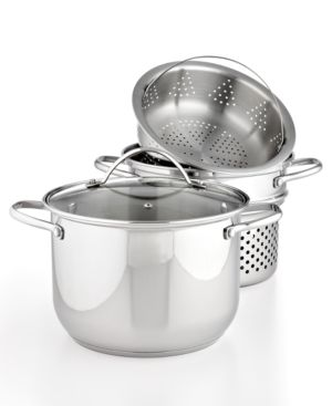 Tools of the Trade Stainless Steel 8 Qt. Covered Stockpot with Pasta & Steamer Inserts, Created for Macy's 727332