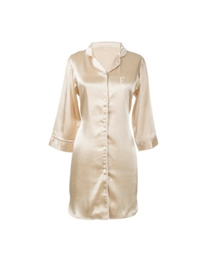 CATHY'S CONCEPTS PERSONALIZED MONOGRAM GOLD SATIN NIGHTSHIRT, ONLINE ONLY