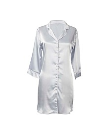 Personalized Silver Satin Night Shirt in L/XL