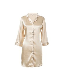 Cathy's Concepts Personalized Gold Satin Night Shirt in S/M