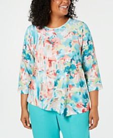 Alfred Dunner Plus Size Coastal Drive Abstract-Print Top