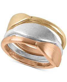 Lucky Brand Tri-Tone 3-Pc. Set Sculptural Stack Rings