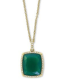 "EFFY® Green Onyx & Diamond (1/6 ct. t.w.) 18"" Pendant Necklace in 14k Gold"