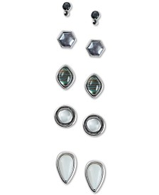 Lucky Brand Silver-Tone 5-Pc. Set Geometric Stud Earrings
