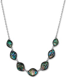 "Silver-Tone Stone Collar Necklace, 18"" + 2"" extender"