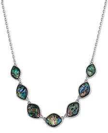 "Lucky Brand Silver-Tone Stone Collar Necklace, 18"" + 2"" extender"