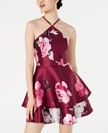Speechless Juniors' Floral Layered Halter Dress