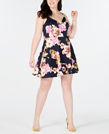 Speechless Trendy Plus Size Floral-Print Fit & Flare Dress