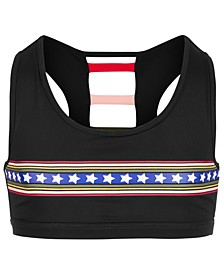 Big Girls Printed Strappy-Back Sports Bra, Created for Macy's