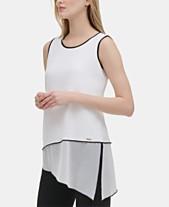 4a2e5acc3 Calvin Klein Asymmetrical Chiffon-Hem Top