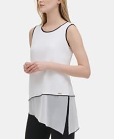 Calvin Klein Asymmetrical Chiffon-Hem Top