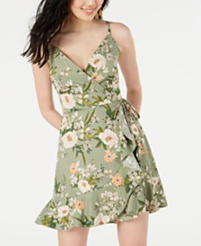 Speechless Juniors' Floral Faux-Wrap Dress