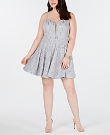 Trendy Plus Size Embellished Lace Fit & Flare Dress