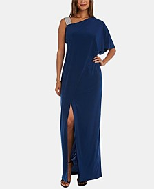 R & M Richards Asymmetrical-Neck Gown