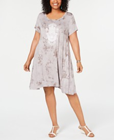 Style & Co Plus Size Tie-Dyed Wash Graphic T-Shirt Dress, Created for Macy's